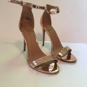 Rose gold metallic strappy heels